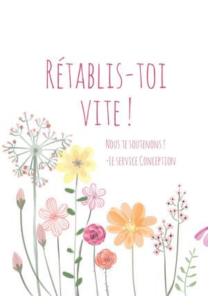 colorful flowers get well soon cards Carte de bon rétablissement