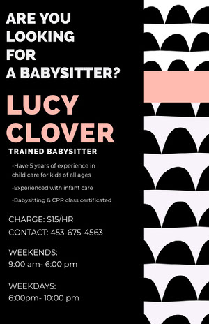 Black and Pink Babysitting Service Flyer with Pattern Pink Flyers