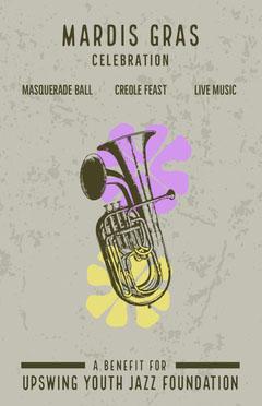 Grey Mardis Gras Event Poster Jazz