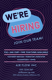 Violet and Blue Hiring Recruitment Poster Poster