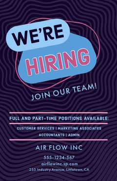 Violet and Blue Hiring Recruitment Poster Job Poster