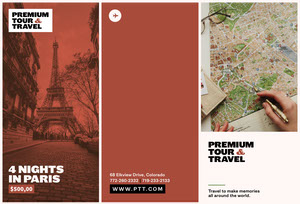 Red and White, Light Toned Tour and Travel Colage, Brochure Travel Brochure