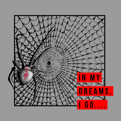 Grey and Red Spiderweb Instagram Graphic Scary