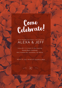 Red Floral Wedding Invitation Card  4th of July