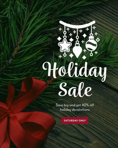 green and red holiday sale instagram portrait  Holiday Sale