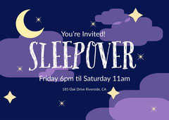 Blue Celestial Sleepover Invitation Stars