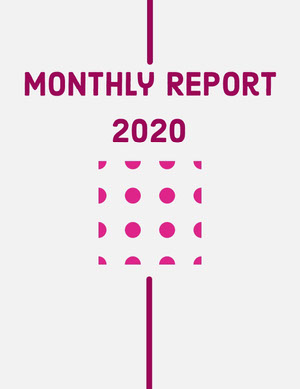 Red and Pink Dots Modern Minimalist Business Monthly Report Relatório