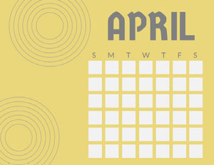 Yellow and Gray April Calendar Kalenterit