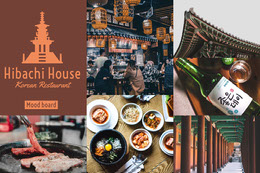 Korean Restaurant Mood Board with Food and Architecture Montage photo