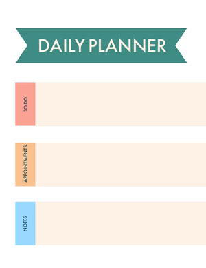 White Pink and Green Empty Daily Planner Card Agenda giornaliera