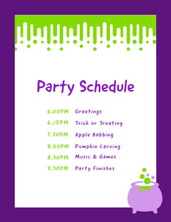 Slime Halloween Party Schedule Halloween Party Schedule