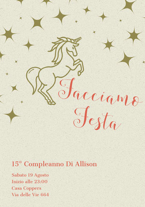 stars and unicorn birthday cards Biglietto di auguri con unicorno