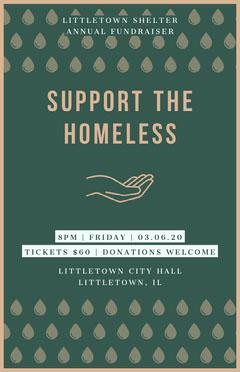Green Homelessness Fundraiser Poster Donations Flyer