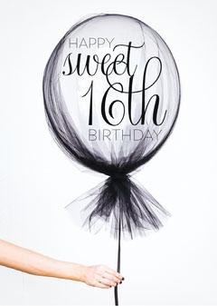 Happy Sweet 16th Birthday Card 5x7 Balloon
