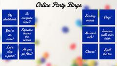 Blue Online Party Bingo Zoom Background Bingo Confetti