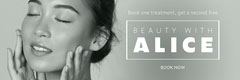 grey white beauty with Alice treatments offer web banner Beauty Salon