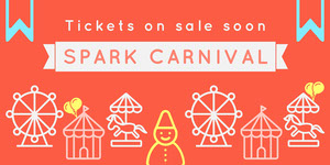 Grey and Orange Spark Carnival Social Post Banner de anúncio