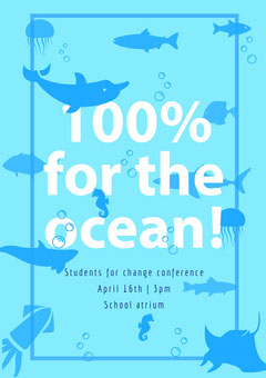 Blue Ocean and Fish Environmental Conservation Conference Flyer Fish