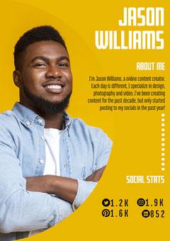 Yellow Background Jason Williams Media Kit a4 Career Poster