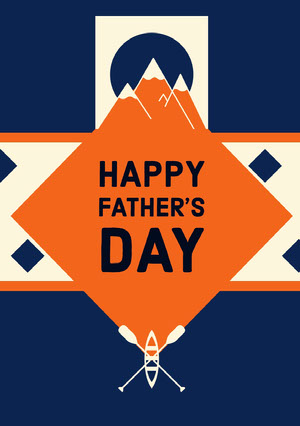 Blue, White and Orange, Fathers Day Wishes Card Vatertagskarten