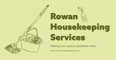 Green and Yellow Illustrated Housekeeping Services Instagram Landscape Ad Cleaning Service
