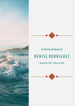 Funeral Invitation Card with Waves in Sea Rest in Peace