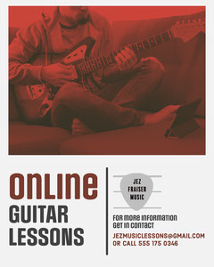 Red Duotone & Grey Learning Guitar Instagram Portrait Music Lessons Flyer