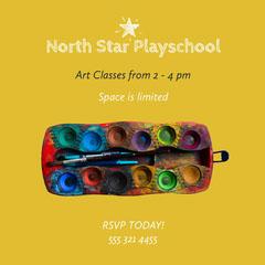 Yellow Green Paint Art Classes Instagram Square  Kids