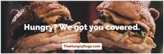 Fast Food Restaurant Horizontal Ad Banner with Burgers Burger