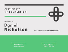 Summer Course Certificate of Completion Educational Course