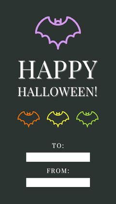 Black Halloween Bat House Party Gift Tag Holiday Party Flyer
