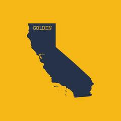 Gold and Dark Blue California Map Square Social Media Graphic California