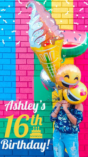 Multicolored Sixteenth Birthday Snapchat Story with Girl with Balloons Happy Birthday Card Ideas