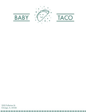 Green Illustrated Mexican Restauant Letterhead with Logo Carte intestate