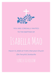 Pink White and Blue Baptism Invitation Invitación de bautizo