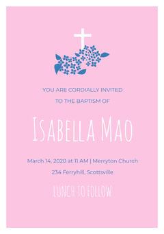 Pink White and Blue Baptism Invitation Baptism