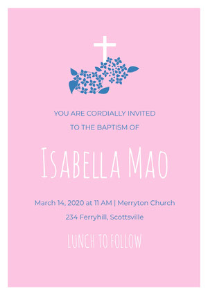 Pink White and Blue Baptism Invitation Baptism Invitation