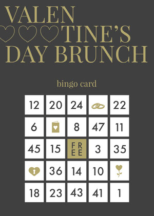 Black and gold valentines bingo Bingokort