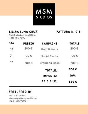 advertising studio invoice  Fattura