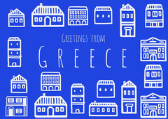 Blue Illustrated Greece Postcard with Houses Architecture