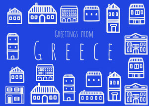 Blue Illustrated Greece Postcard with Houses Rejsepostkort