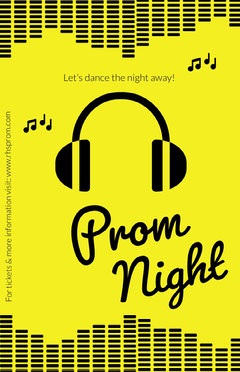 Bright Yellow High School Prom Poster with Headphones Back to School