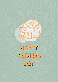 Green Fox Fathers Day Card Kids