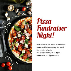 White and Red Pizza Night Event Instagram Post Fundraiser