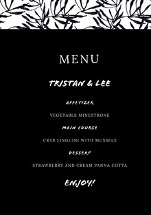 Black and White Wedding Menu Menú de bodas