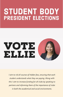 Red and White Student Body President Elections Candidate Poster with Portrait Photo Election