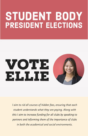 Red and White Student Body President Elections Candidate Poster with Portrait Photo Campaign Poster