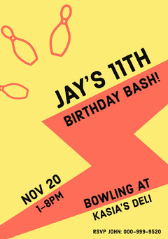 Yellow, Red and Black Birthday Party Invitation Card Birthday Bash
