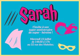 Pink and Blue Superhero Birthday Party Invitation Invitation d'anniversaire
