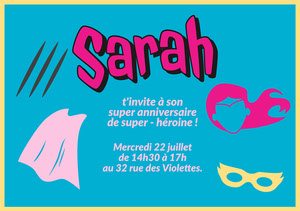 Pink and Blue Superhero Birthday Party Invitation Invitation à une fête